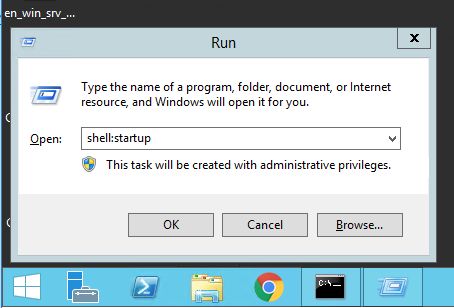The run dialog box showing how to access the startup folder on Windows Server 2012 and Windows Server 2016