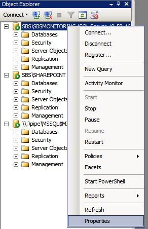 Modify SQL Instance Properties in SBS 2011 using SQL Management Studio