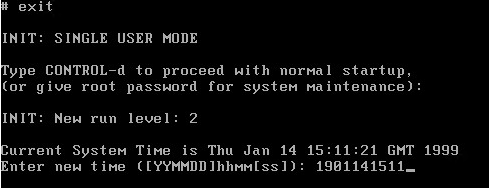 Image showing setting the date and time on SCO Openserver during boot