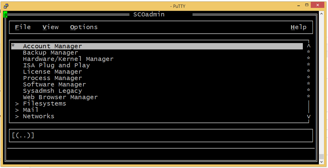 SCOadmin with correct terminal settings