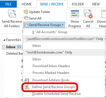 Removing an account from the send/receive group in Outlook 2016