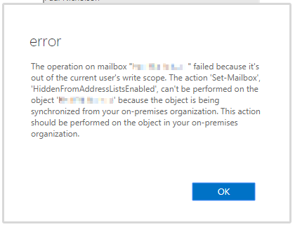 Unable to hide mailbox from Office 365 when synced to on-premise active directory