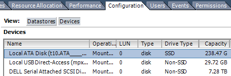 Image showing ESXi datastore with an SSD installed into the Optical bay of a Dell PowerEdge Server.