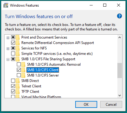 Image showing the installation of SMB 1 support in Windows 10