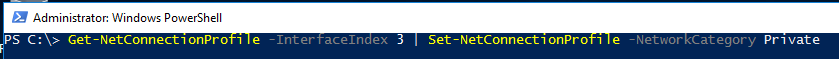 Image showing how to change network profile on Windows Server 2016 from Public to Private