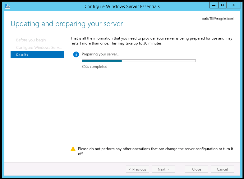 Windows Server 2012 r2 Essentials Edition moving correctly through the configuration wizard after correct group policy settings were applied.