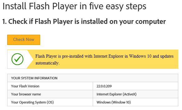 Screenshot showing successful installation of Flash Player on Windows Server 2016