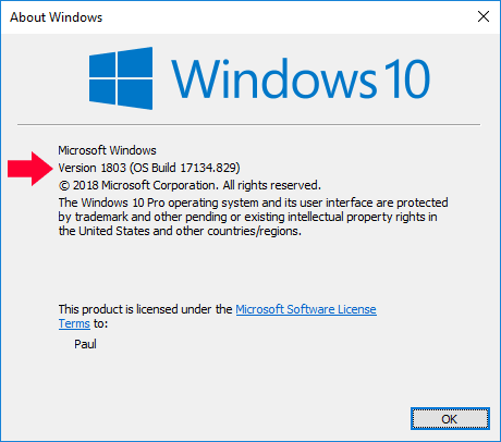 Image showing Winver to check build number of Windows 10