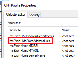 msExchHideFromAddressLists property added to active directory by extending schema using Exchange 2013 evaluation