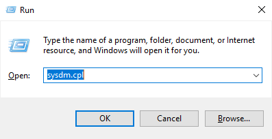 Image showing how to access System Properties from the Windows Run Dialoog